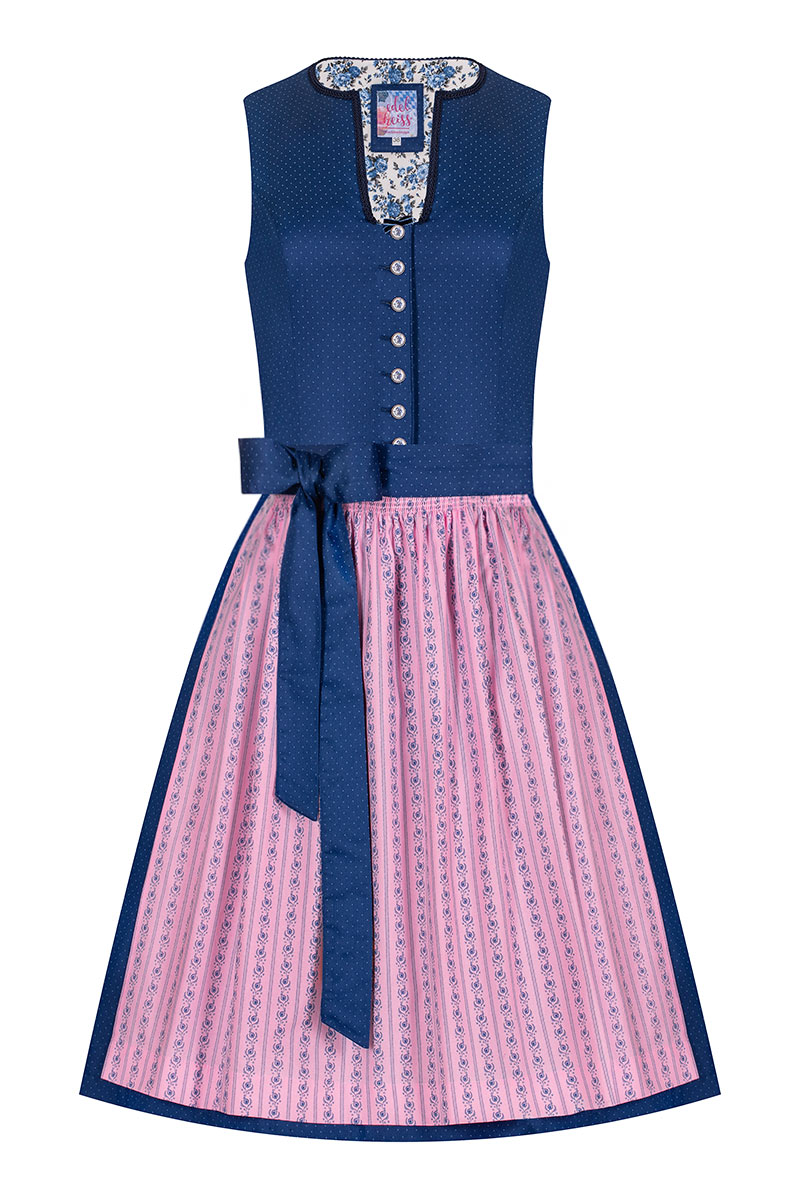 9d7e2b9ab1fee Mini Dirndl 60 cm dunkelblau rosa Emilia 007361